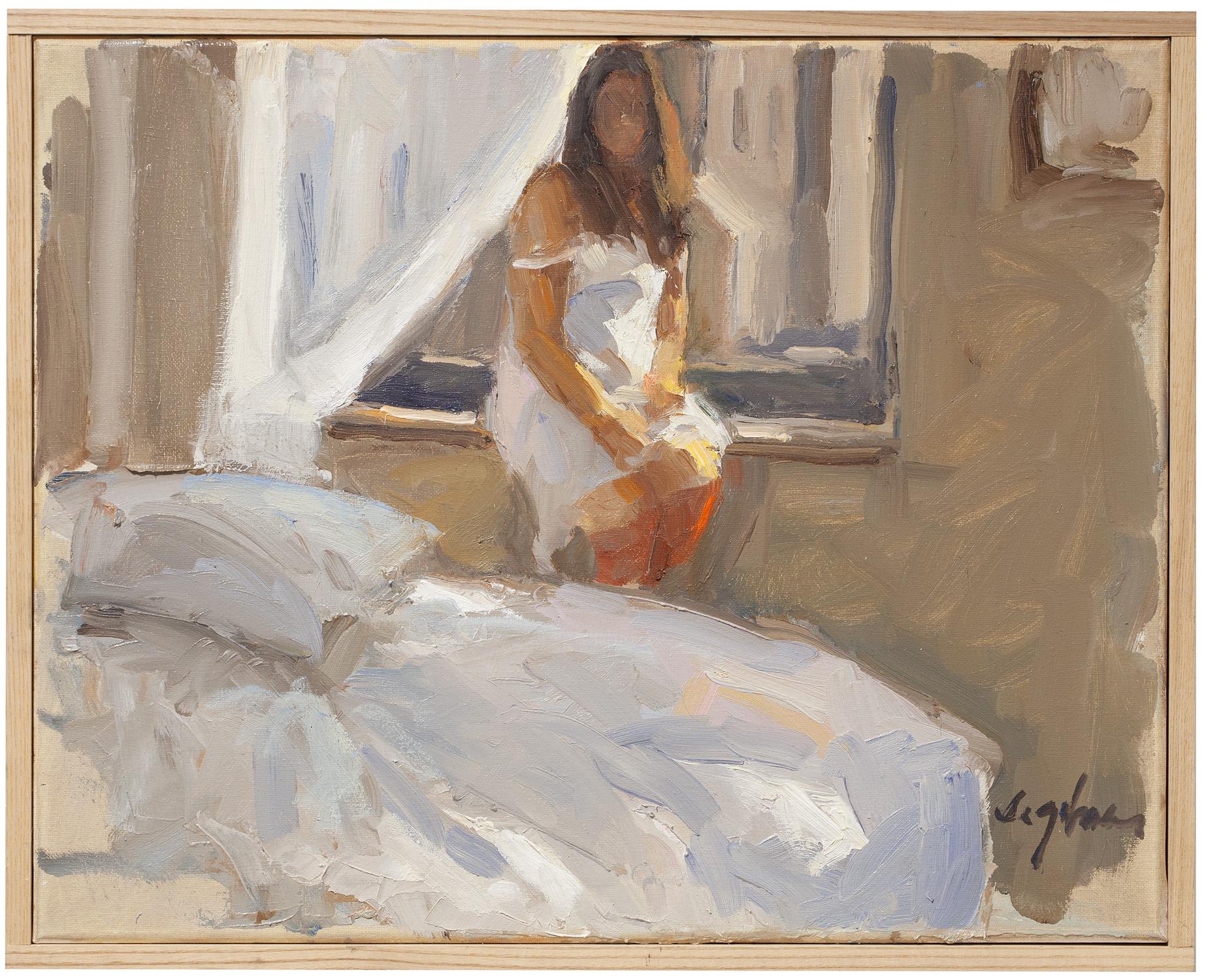 "Georgie At Window , oil on canvas, 16"" x 20"""