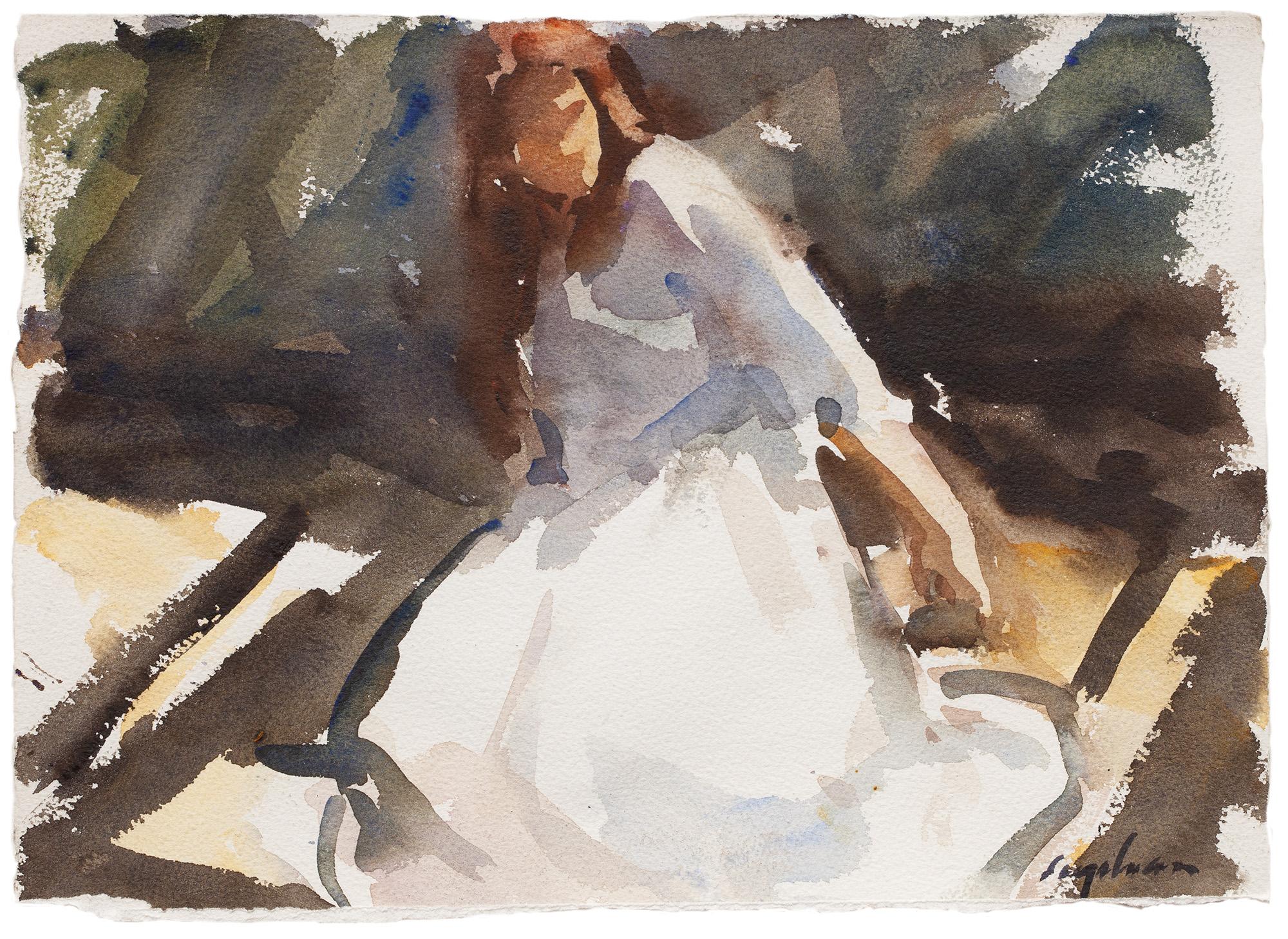 "Shakespearian Heroine II , watercolor, 10"" x 16"""