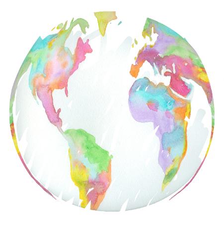Watercolor World Map Illustration