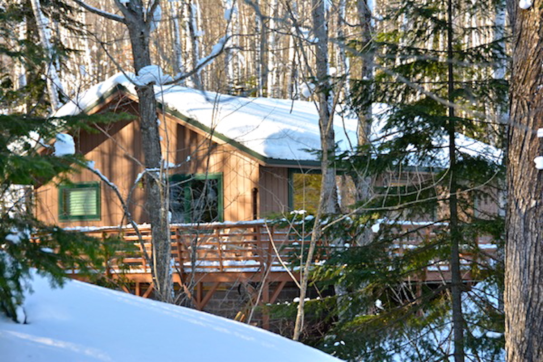 The cabin in winter.