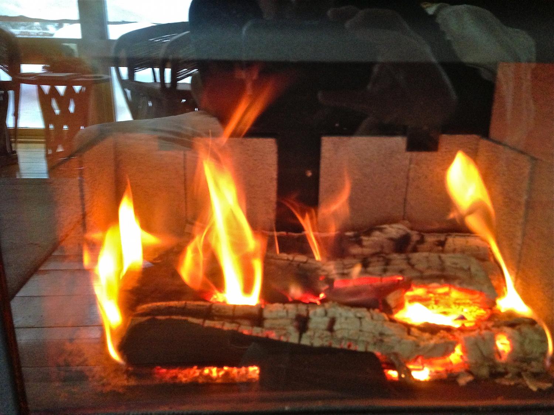 Cozy indoor fire.