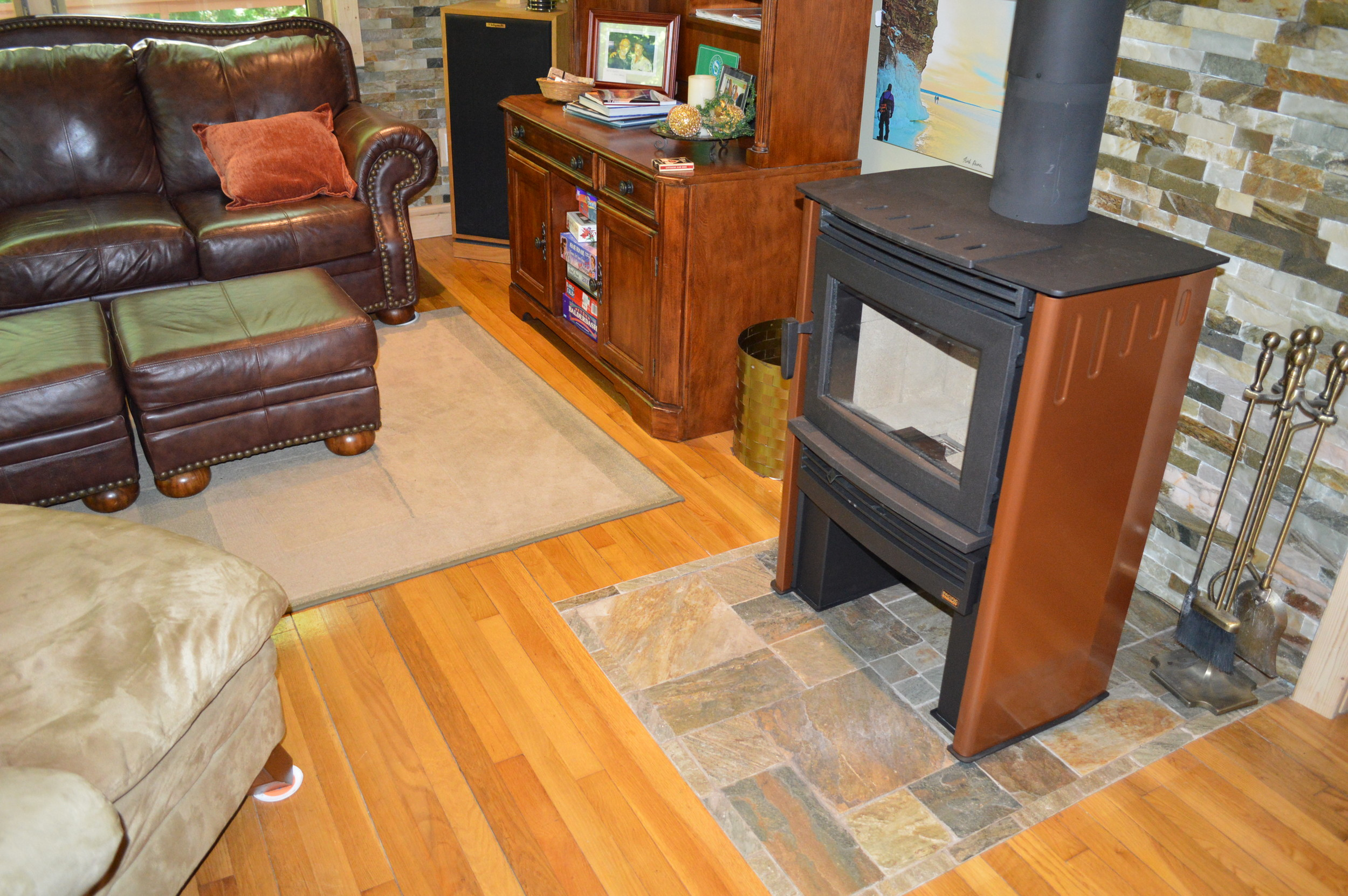 The new copper-sided stove.