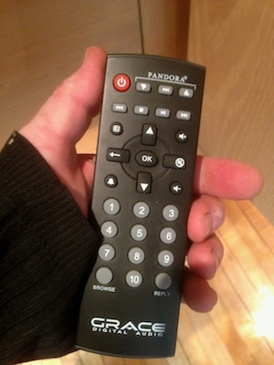 Remote to turn on Pandora or Sirius music. Volume up down buttons are on right. Use toggle on back of unit to switch music between bedroom or living room.
