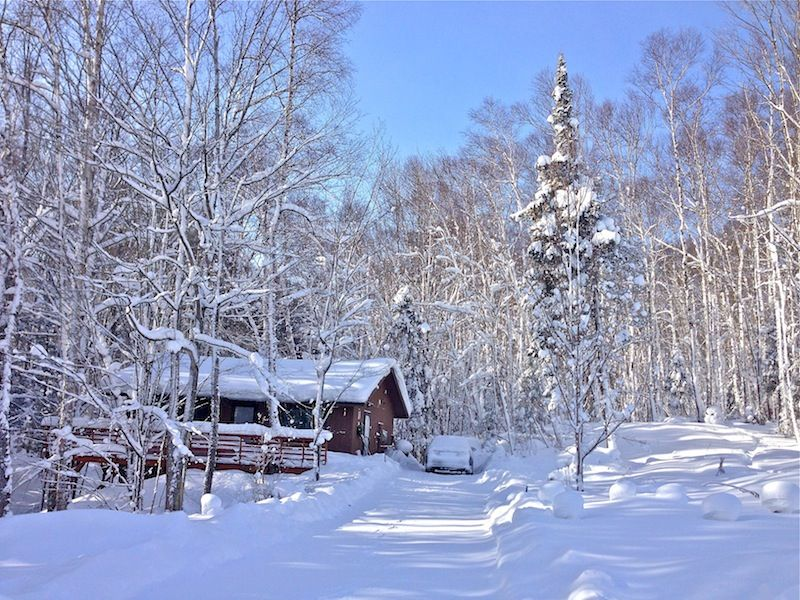 Another view of the cabin in winter.