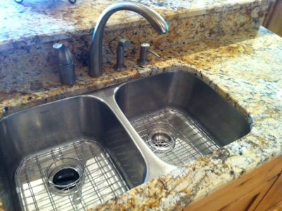 Stainless sinks.