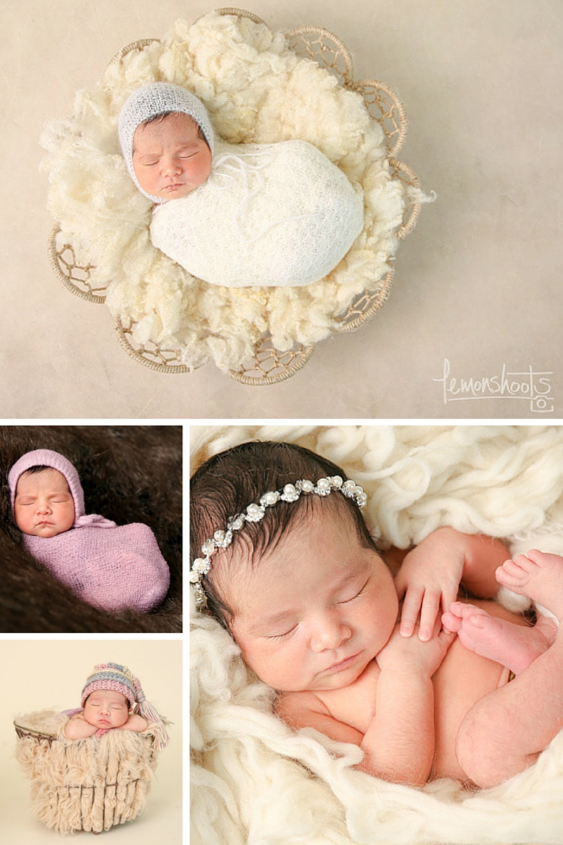 Collage of Newborn babies wrapped and sleeping in different poses