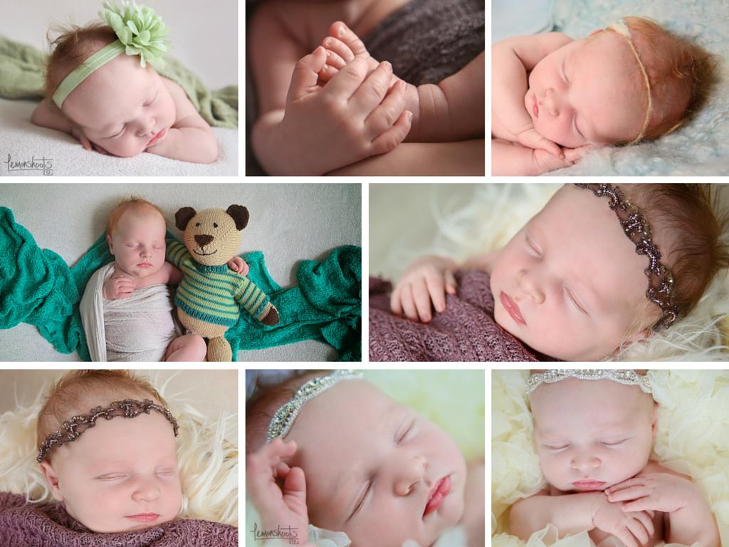 Collage of newborn baby girl photos