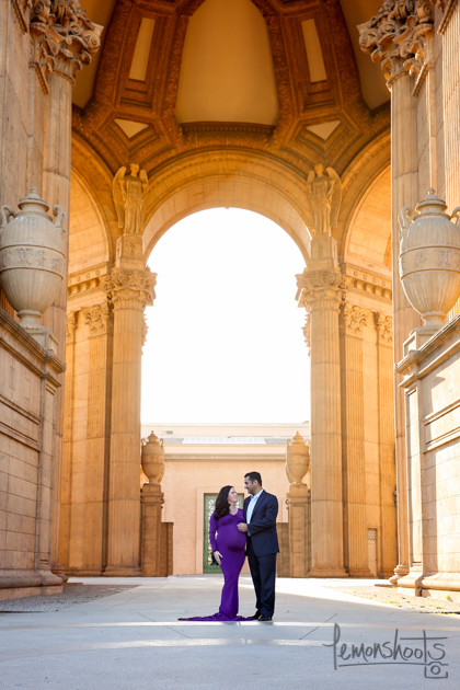 maternity photoshoot at palace of fine arts