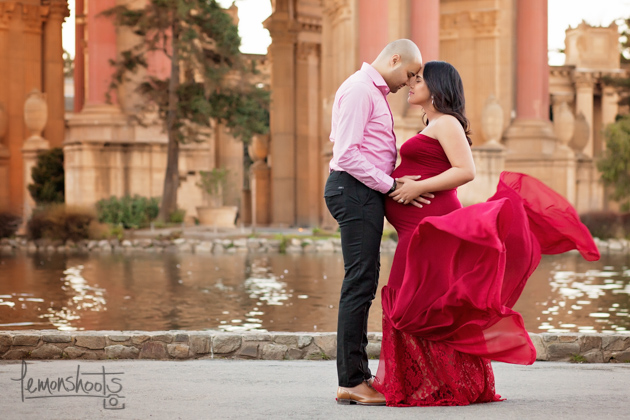 expecting couple posing at palace of fine arts