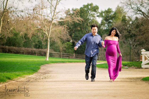 pregnant couple having a good time at hap magee park