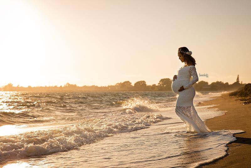 Pregnant woman at Alameda Crown Beach