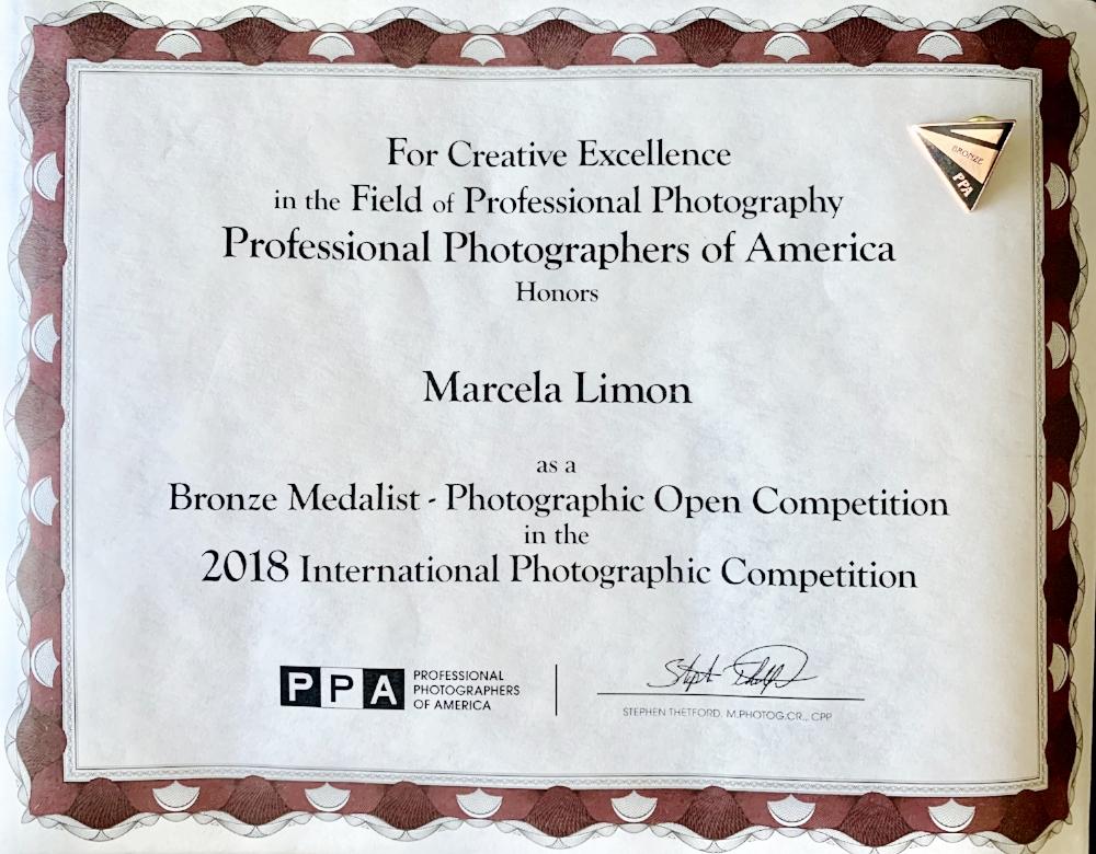 Marcela Limon - PPA Bronze Medal Certificate