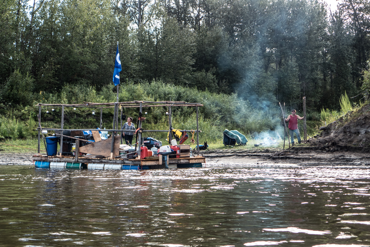 Lloyd Grant built this raft in Fort McMurray and spent 10 days floating it up to Fort Chipewyan to make a dock for a family member. August 2015.