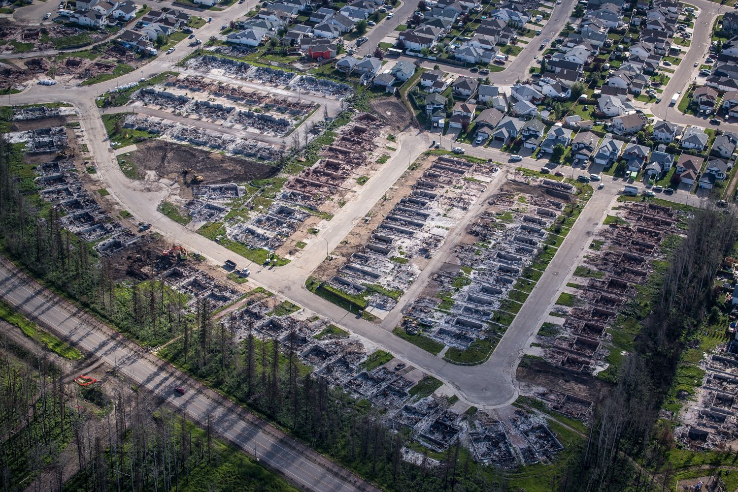 Houses in Wood Buffalo Estates burnt down in the Fort McMurray Wildfires, July 2016.
