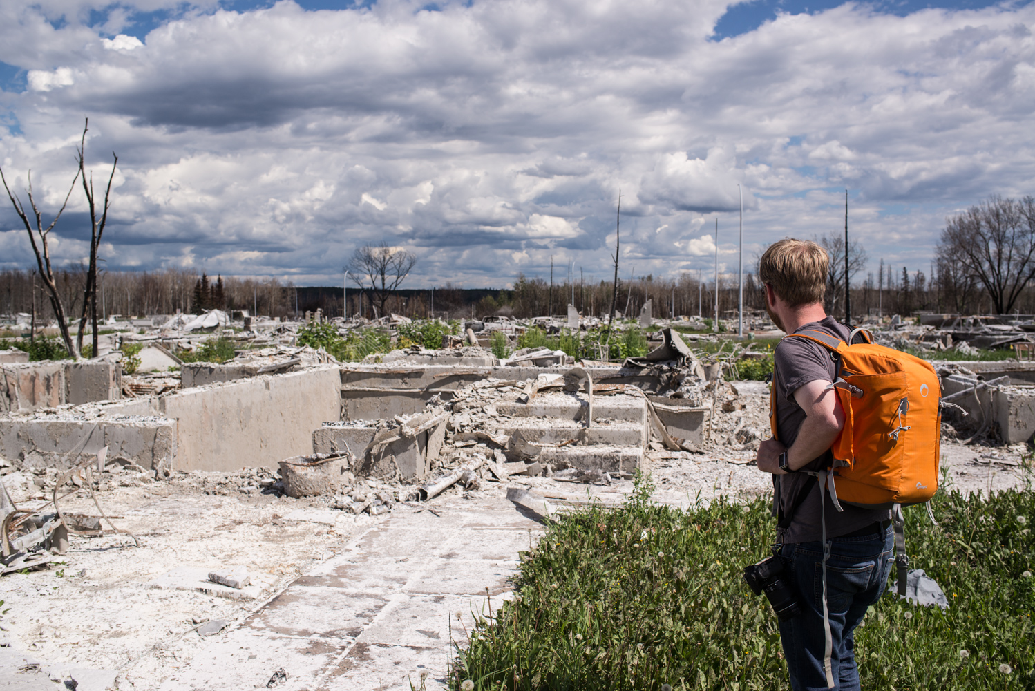 """Dude, where's my house?"" Peter Fortna looking at the remnants of his house burnt down in the Fort McMurray wildfires, July 2016."