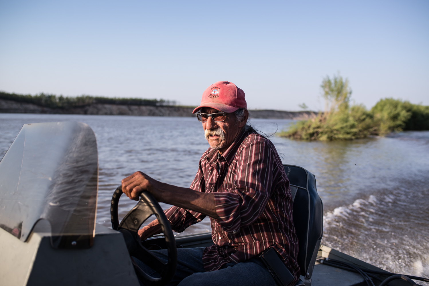 Roy Ladouceur is a hunter, trapper, and river guide who lives at Poplar Point, July 2017.