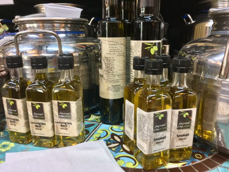 Beyond the Olive's olive oil is fresh, made from Californian olives. All the olive oil and vinegar sold in the store can be tasted, and we have about 18 kinds of olive oil at all times.