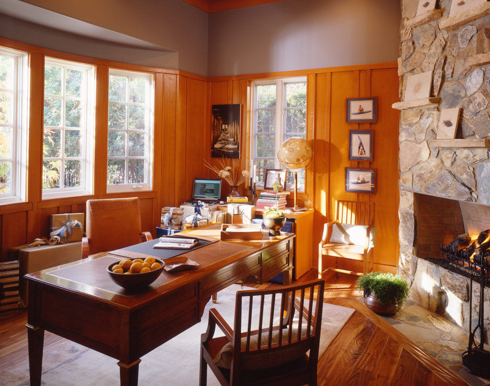 rustic.cozy.fireplace.office.design