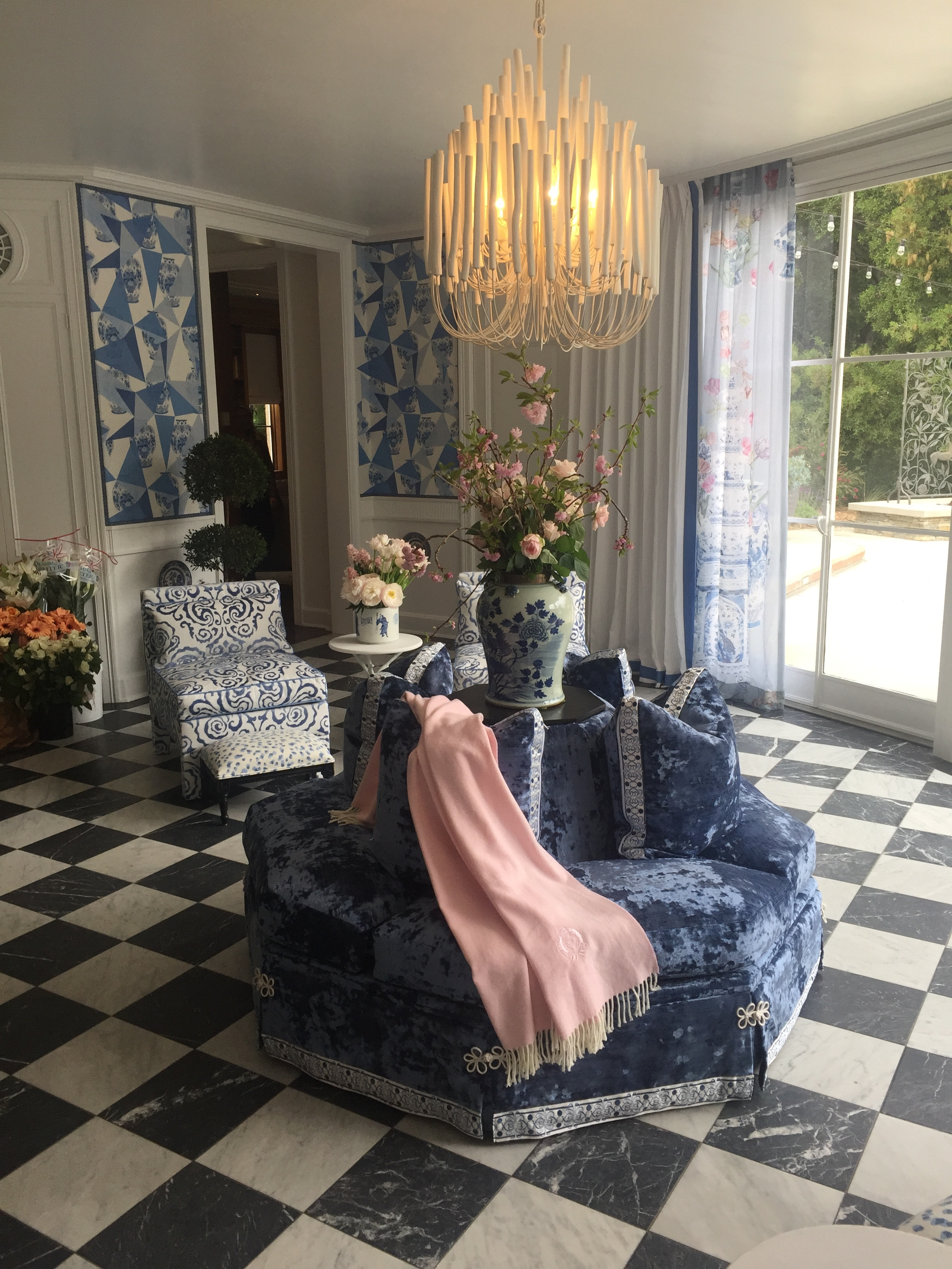 The Solarium by Tracy Murdock Interior Design features luxe textiles donated by Scalamandre and fine details by Samuel & Sons.