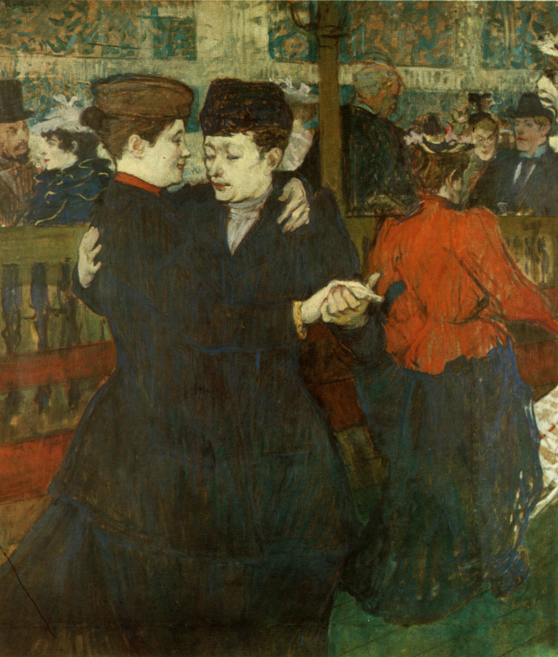 At the Moulin-Rouges, Two Women Waltzing   By Henri de Toulouse-Lautrec.  Works from the National Gallery in Prague . Photo by: Jan Sedlák, Henri de Toulouse-Lautrec, Odeon, Praha 1985.  Public Domain .