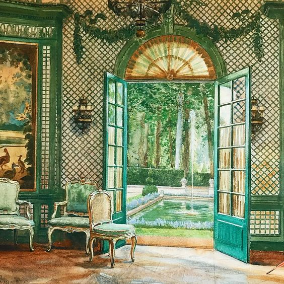Interior of Elsie De Wolfe' music pavilion looking out on to the pool, The Villa Trianon , rendered by William Bruce Ellis Ranken (1881-1941).  Public Domain .