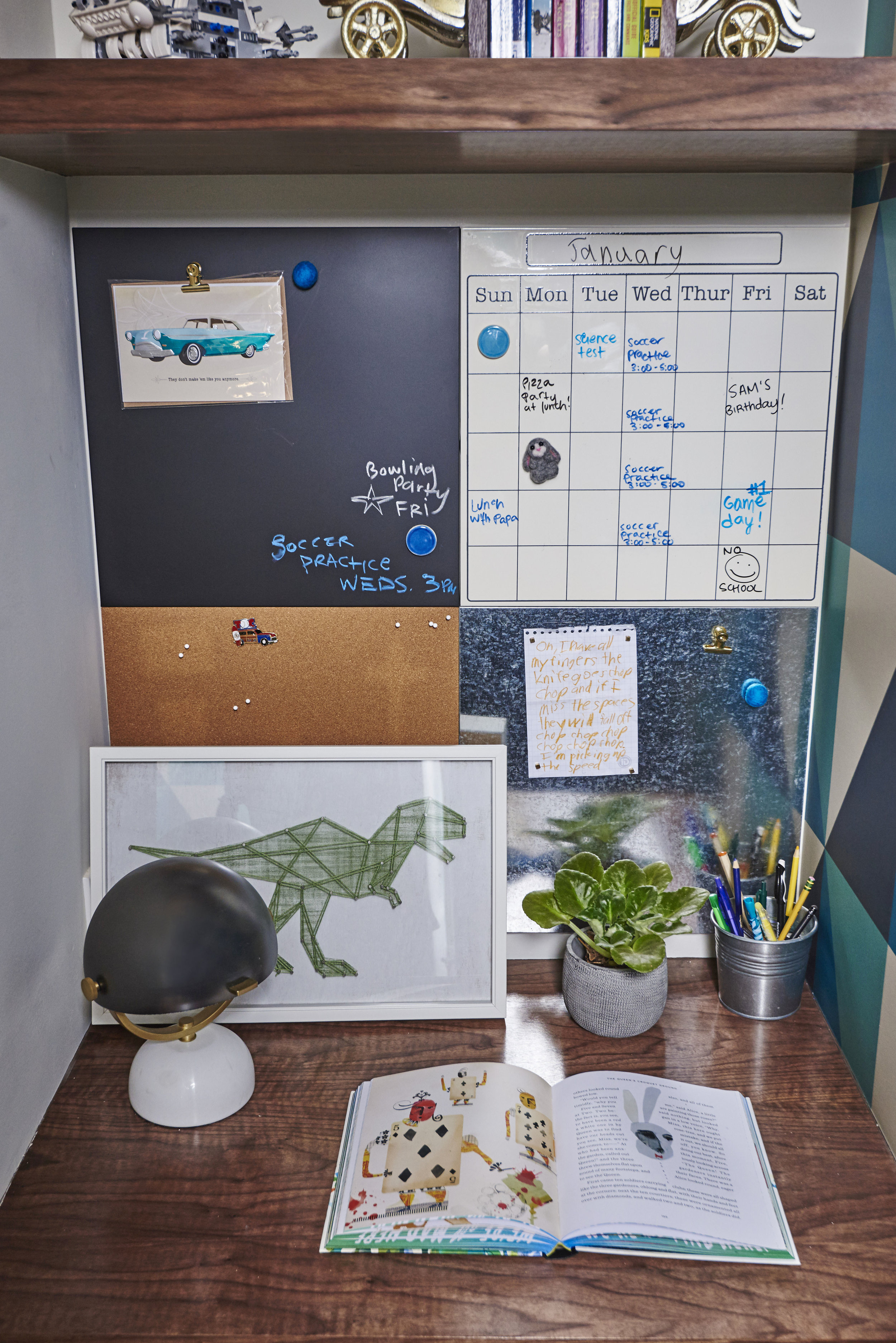 Personalized tools for staying organized! Each boy's desk includes a utility wall with a chalkboard, pin board, metal panel for magnets and wipe off board calendar.