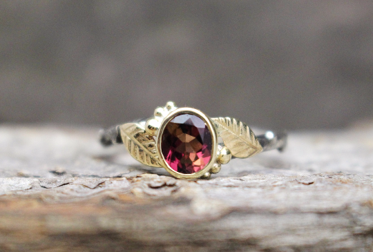 Tourmaline 14k Gold Sterling Silver Leaf and Sterling Twig Ring.png