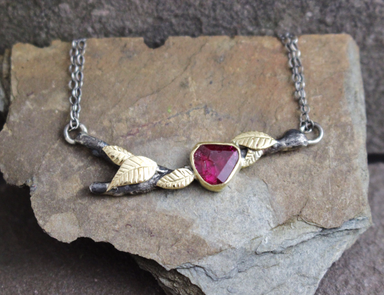 14k Gold Leaf Twig with Ruby Neckalce