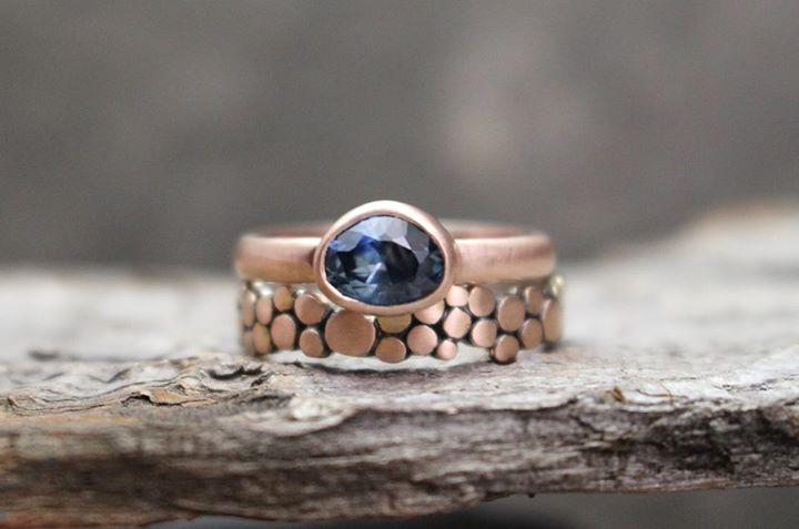 Rose Gold Sapphire and Pebble Engagement Set