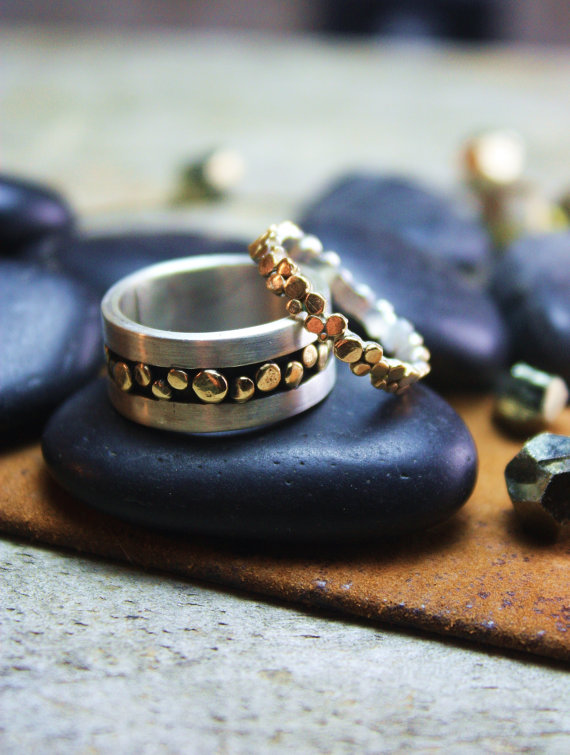 Matching 14k Gold and Sterling Pebble Wedding Set