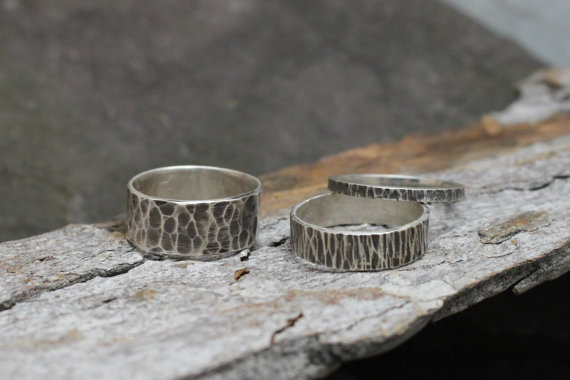 Oxidized Hammered Sterling Rings