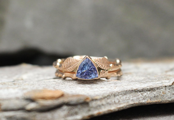 Tanzanite Rose Gold Twig and Leaf Ring