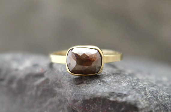 Chocolate Rose-Cut Diamond 14k Yellow Gold Ring