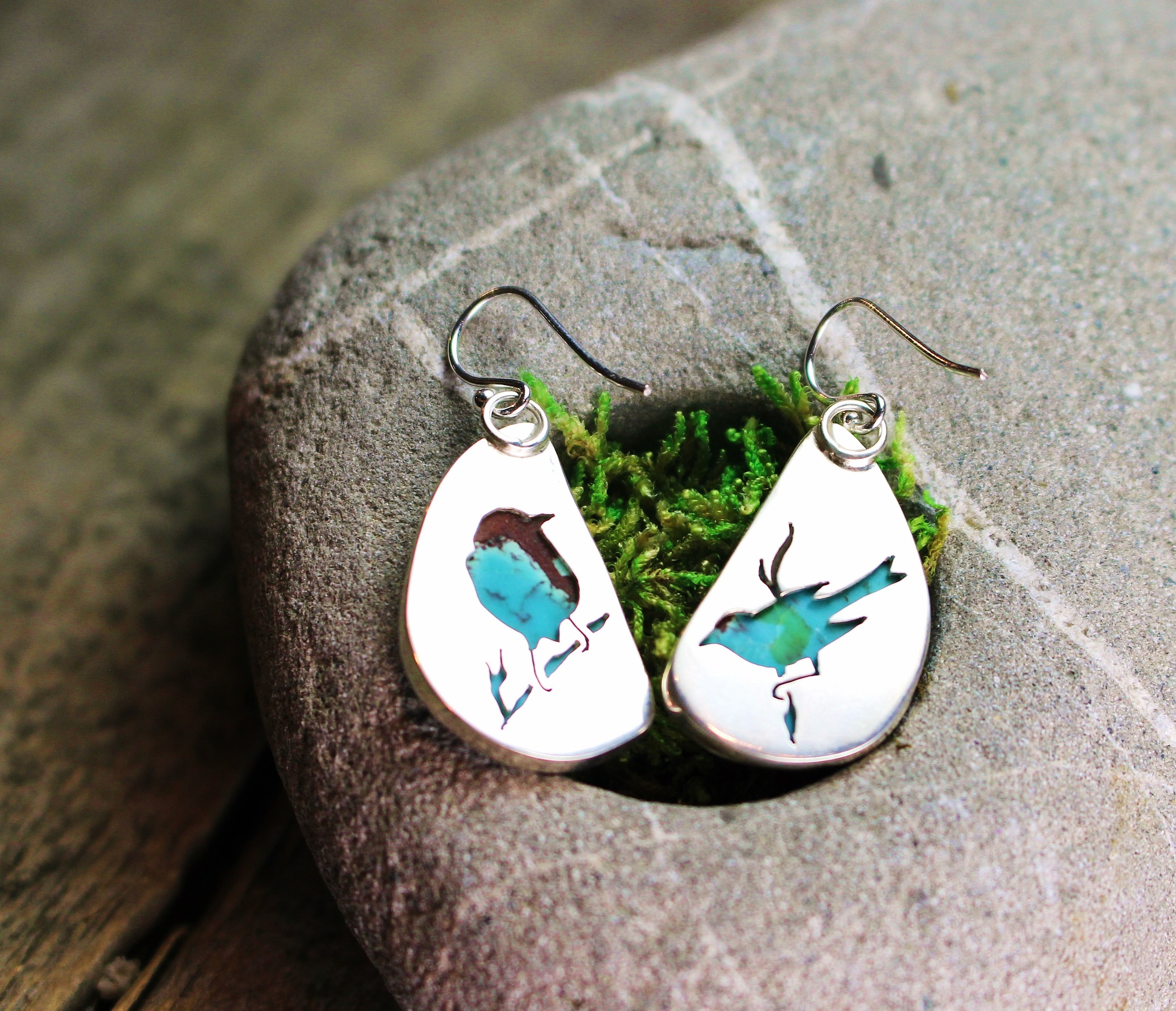 Song Bird Cut-Out Earrings with Turquoise set in Sterling