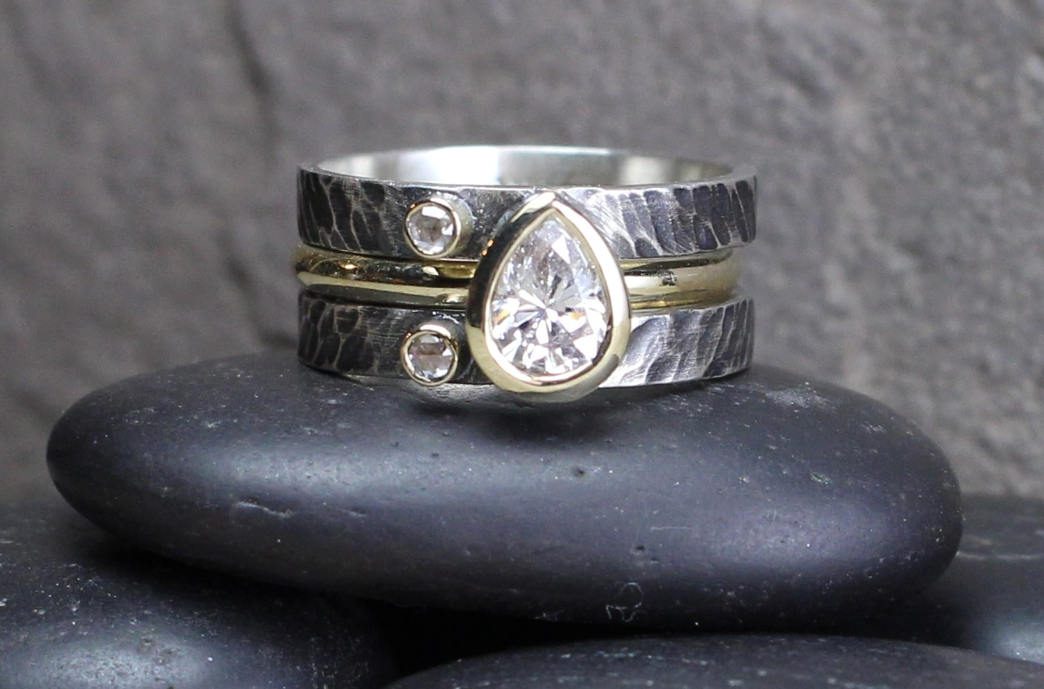Pear-Cut Diamond with Diamond Accents Removable 14k Yellow Gold Band in Sterling Textured and Oxidized Band