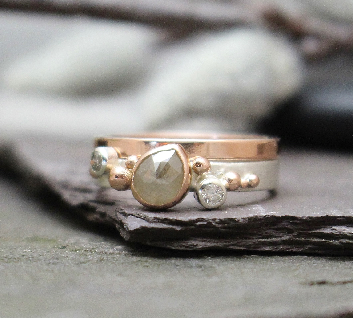 14k White and Rose Gold with Rose-Cut Diamond and Full-Cut Diamond Accents