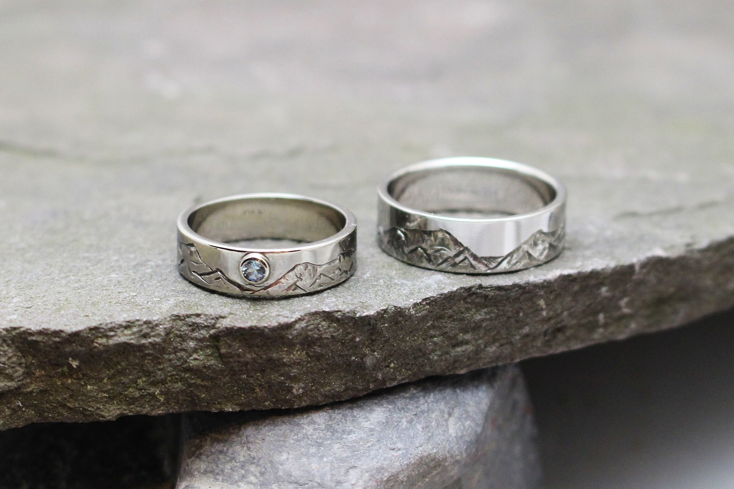 Custom Mountain Range Wedding set in White Gold with Aquamarine Moon by Global Pathways