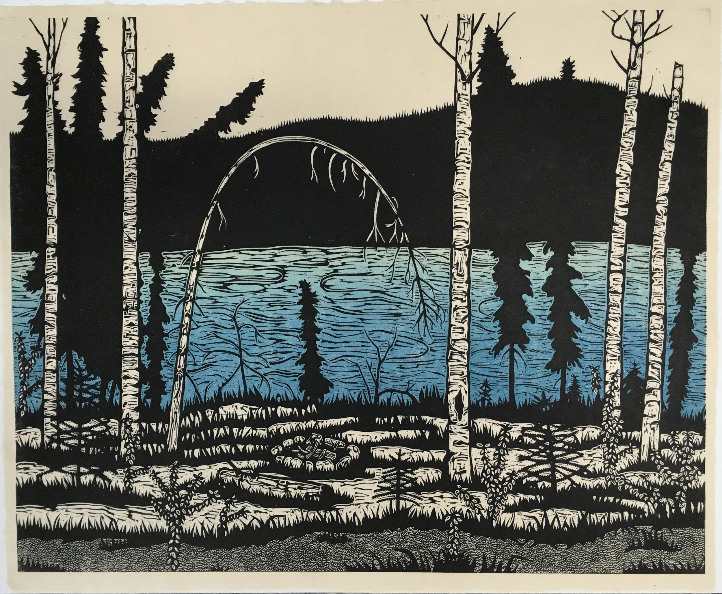 "The Great Yukon River Path . Color woodcut print. 16x20"""