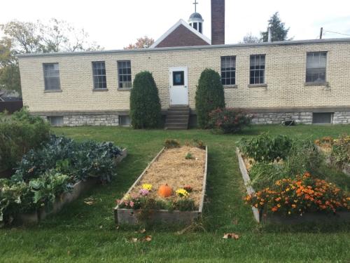 A garden behind a church