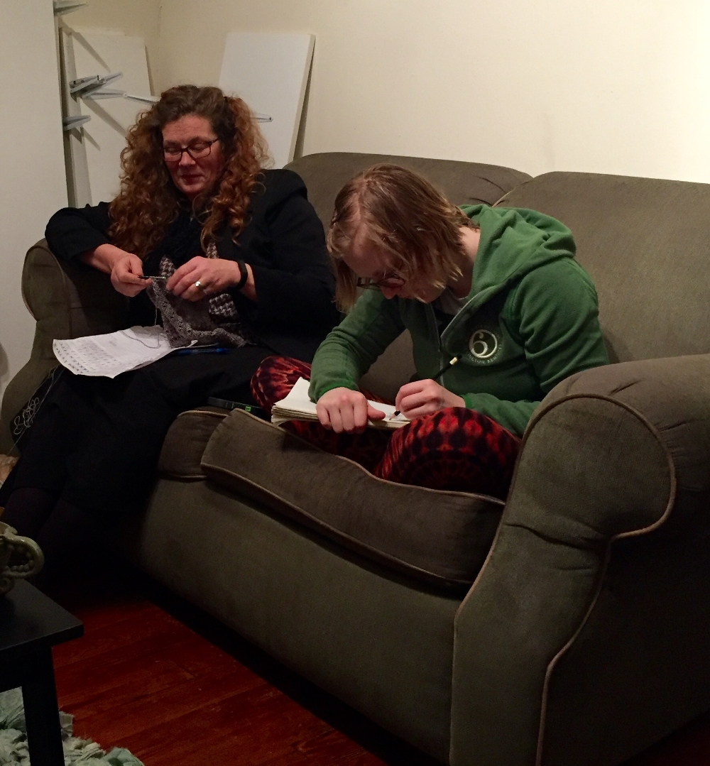 Knitting and drawing and chatting, oh my!