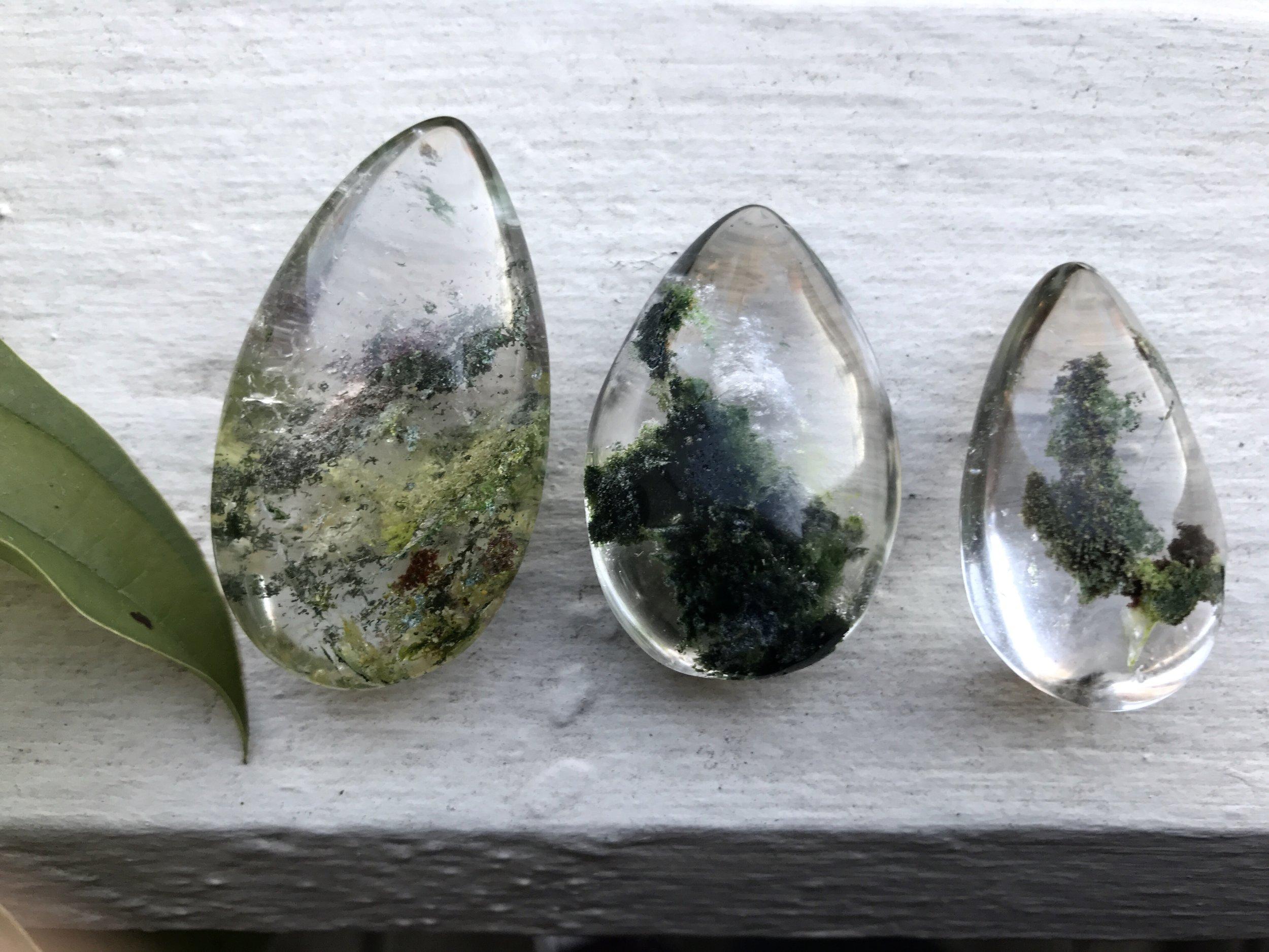 healing crystals- phantom quarts with green calcite