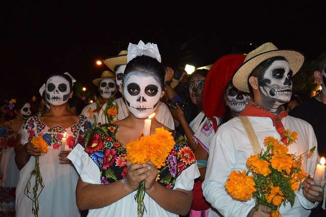 Some people paint their faces for the Day of the Dead celebration.