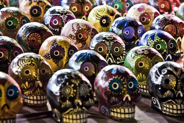 Calaveras, or skulls, painted in bright colors for the Day of the Dead celebration.