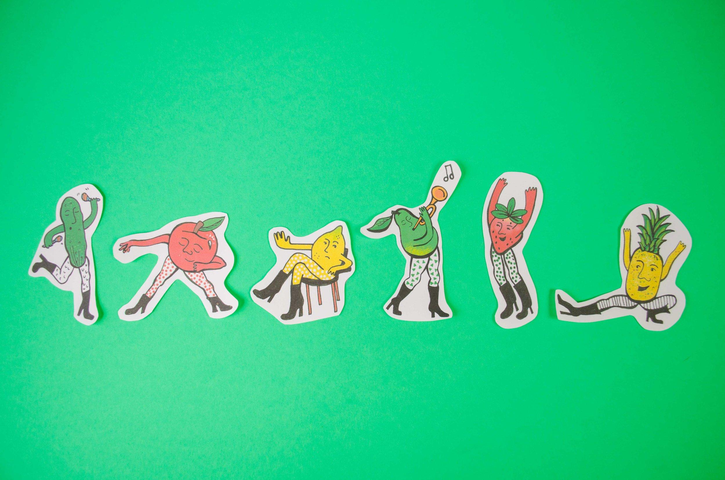 Dancing Fruit Stickers by Julie Finn