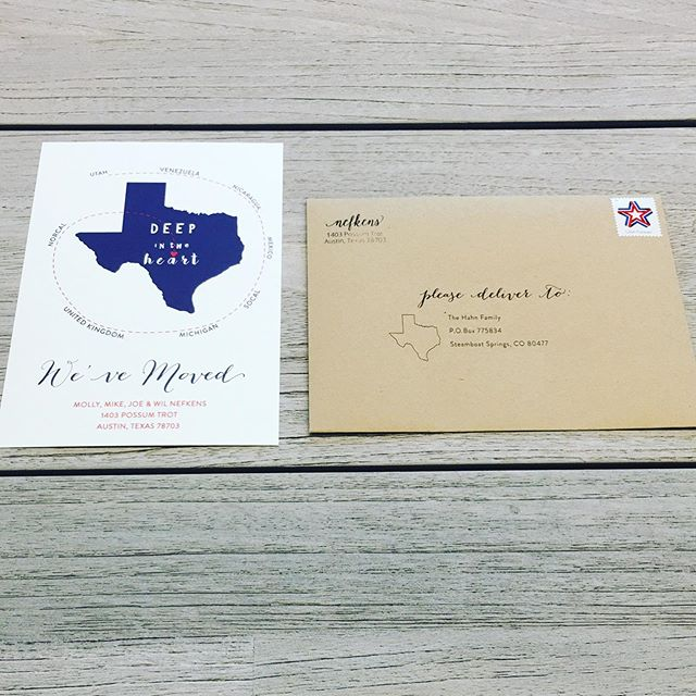 These Moving Announcements have my ❤️! My client wanted to depict her family's journey living all over the globe, finally landing in their forever home of Austin, Texas! The quote she chose for the back, recipient addressing and stamps, keeps me smilin'! #movingannouncements #stationary #deepintheheartoftexas
