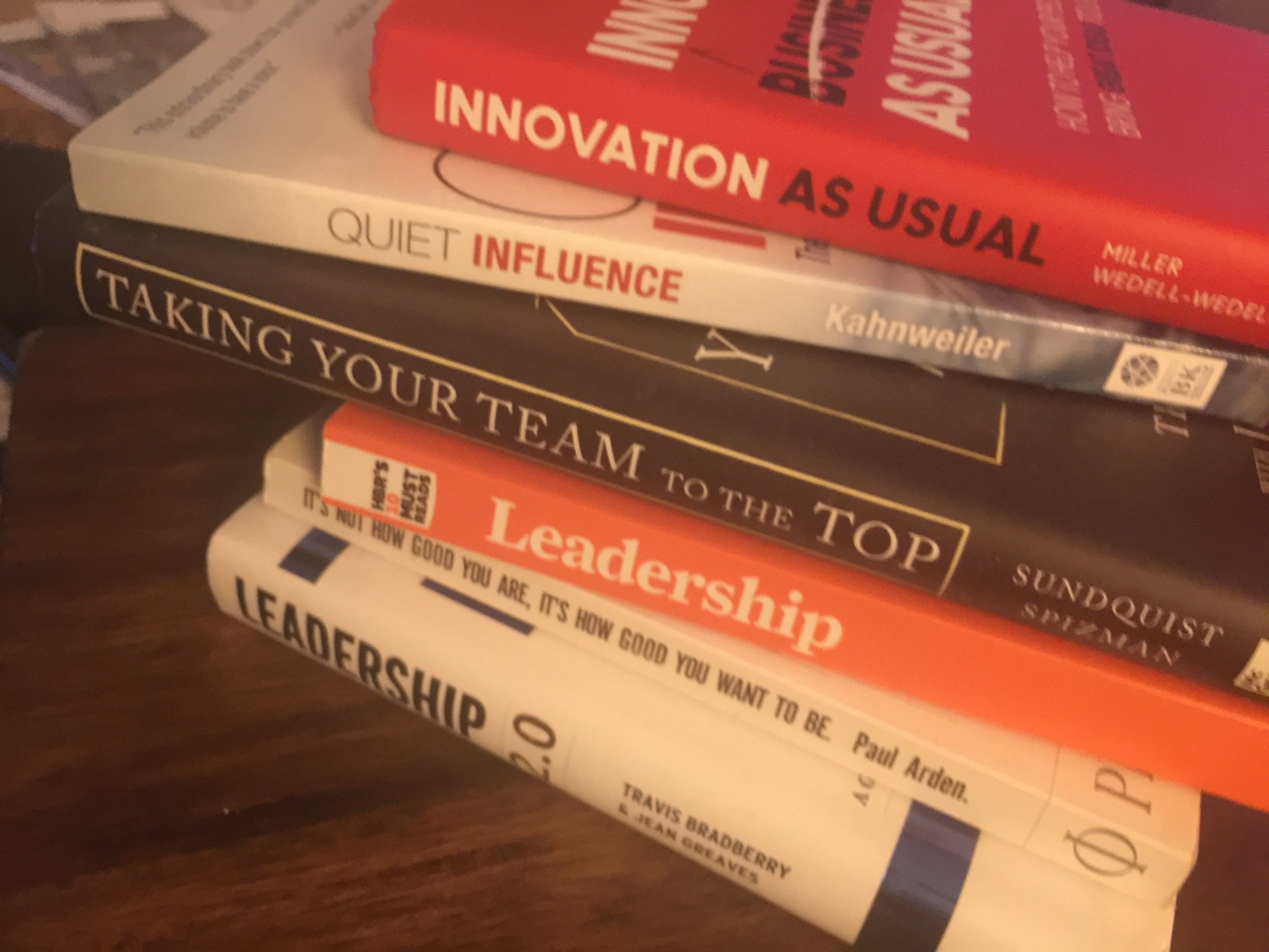 From my personal office library, books on leadership.
