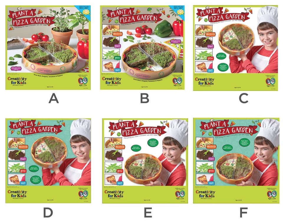 Plant A Pizza Garden - Packaging Development project for Creativity for Kids Faber-Castel ( Visuals prep for consumer insight review)