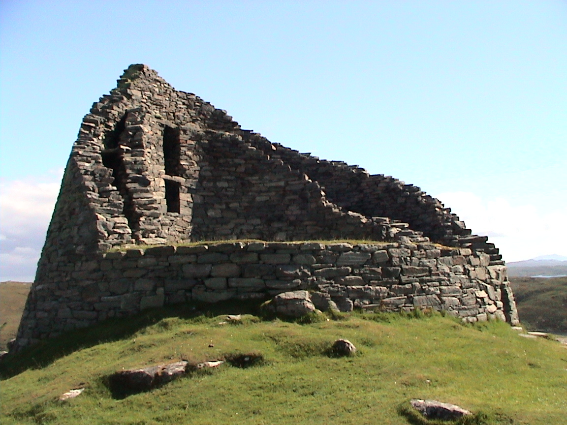 From Wikipedia:  Dun Carloway   (   Dùn Chàrlabhaigh   ) is a broch   situated in the district of   Carloway  , on the west coast of the Isle of Lewis  . It is a remarkably well preserved broch - on the east side parts of the old wall still reach to 9 metres tall.