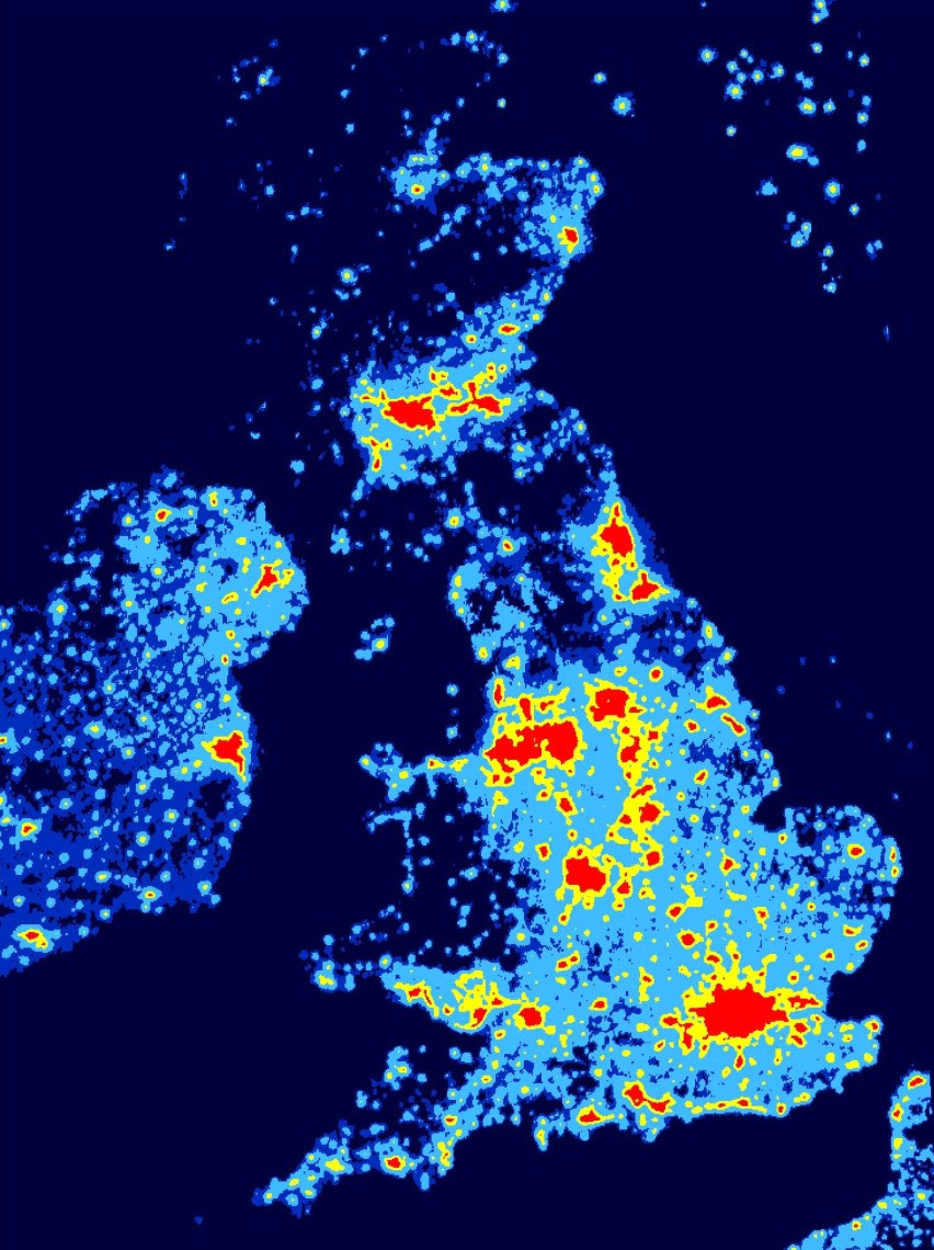 "This map of the UK dramatically illustrates the ""dark skies"" of Scotland, found especially in the SW of the country and in the Highlands and Islands. Photo credit www.cpre.org.uk"