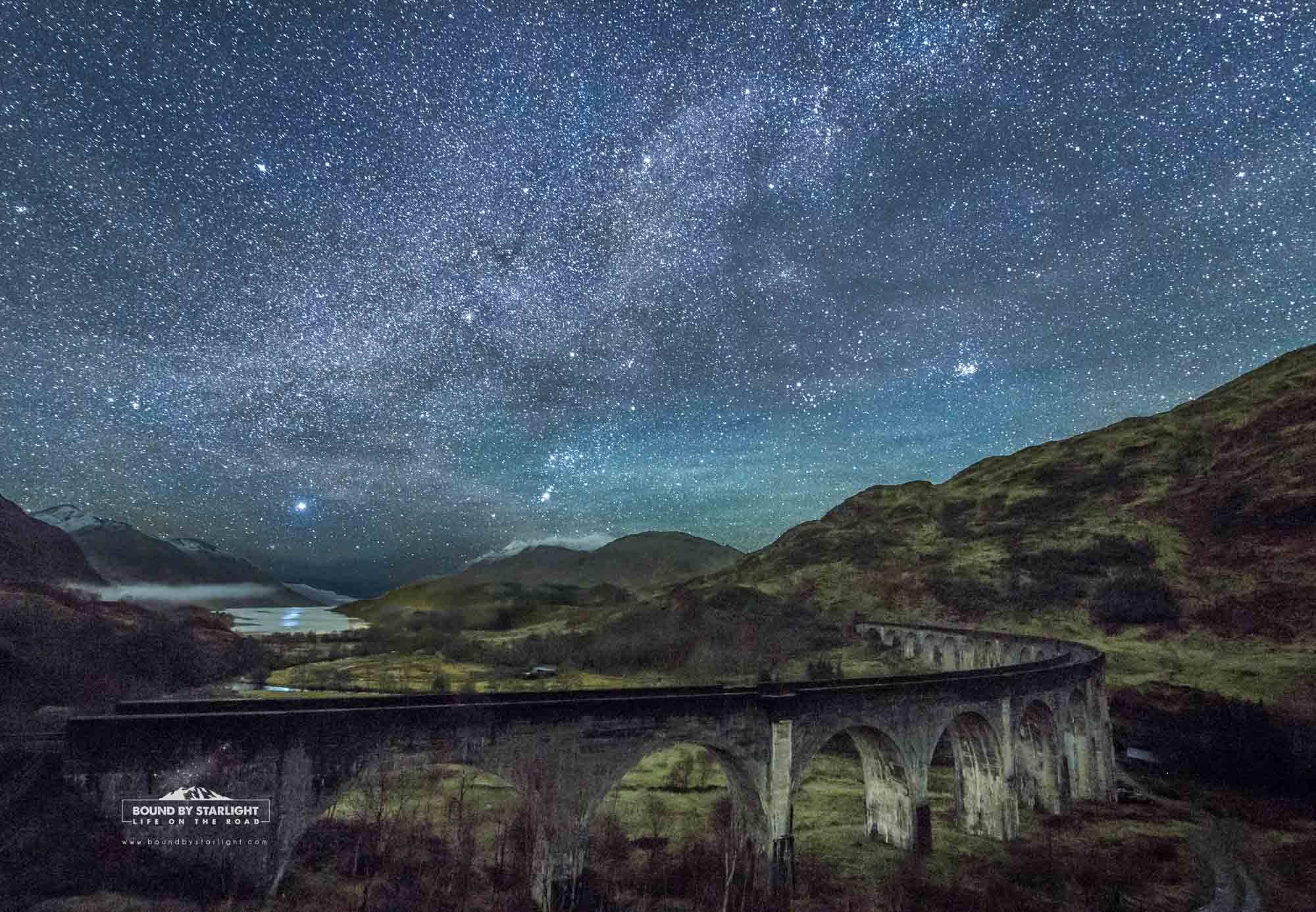 The world famous and often photographed Glenfinnan Viaduct as few have ever seen it, at night under a canopy of stars. Image © Stuart McIntyre